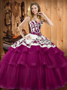 Nice Sweetheart Sleeveless Lace Up Quinceanera Dress Fuchsia Organza