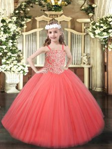Fashionable Tulle Sleeveless Floor Length Child Pageant Dress and Beading