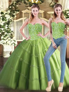 New Style Tulle Sweetheart Sleeveless Lace Up Beading Sweet 16 Dresses in Olive Green