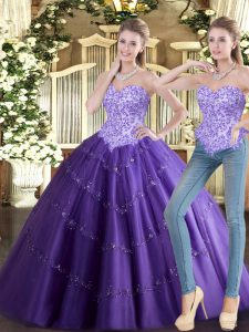 Sleeveless Tulle Floor Length Lace Up Ball Gown Prom Dress in Purple with Beading
