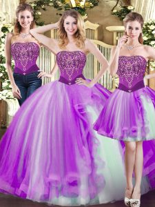 Adorable Eggplant Purple Strapless Lace Up Beading Ball Gown Prom Dress Sleeveless