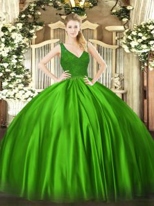 Great Floor Length Backless Quinceanera Dresses Green for Military Ball and Sweet 16 and Quinceanera with Beading and Lace