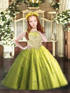 Gorgeous Olive Green Ball Gowns Beading and Appliques Little Girl Pageant Gowns Zipper Tulle Sleeveless Floor Length