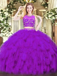 Sleeveless Floor Length Beading and Ruffles Zipper Quinceanera Dresses with Purple