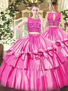 Floor Length Rose Pink 15 Quinceanera Dress Tulle Sleeveless Beading and Ruffled Layers