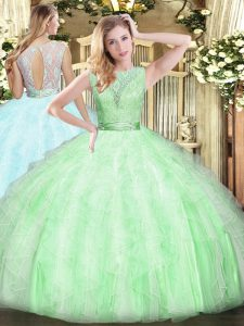 Floor Length Ball Gowns Sleeveless Apple Green Quinceanera Gown Backless