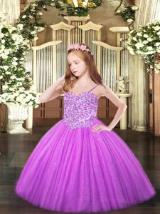 Fashionable Lilac Ball Gowns Spaghetti Straps Sleeveless Tulle Floor Length Lace Up Appliques Pageant Dress for Womens