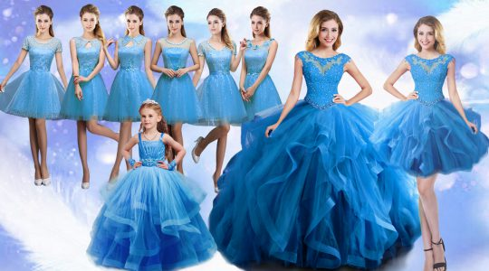New Arrival Sleeveless Organza Floor Length Lace Up Quinceanera Gown in Baby Blue with Beading and Ruffles