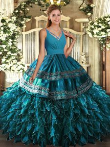 Inexpensive V-neck Sleeveless Backless Sweet 16 Dresses Blue Organza