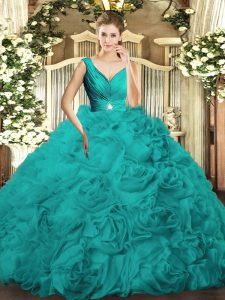 Glorious Turquoise Sweet 16 Dresses Military Ball and Sweet 16 and Quinceanera with Beading and Ruching V-neck Sleeveless Backless