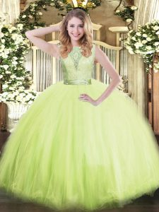 Yellow Green Ball Gowns Tulle Scoop Sleeveless Lace Floor Length Backless Quinceanera Dresses