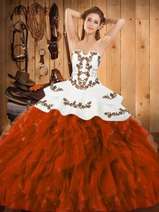 Sleeveless Floor Length Embroidery and Ruffles Lace Up 15 Quinceanera Dress with Rust Red
