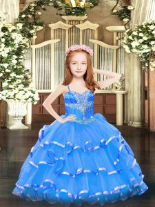 Sleeveless Beading and Ruffled Layers Lace Up Kids Formal Wear
