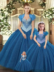 Floor Length Lace Up 15th Birthday Dress Teal for Military Ball and Sweet 16 and Quinceanera with Beading