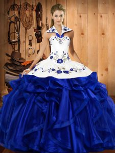 Most Popular Royal Blue Halter Top Lace Up Embroidery and Ruffles Sweet 16 Dresses Sleeveless