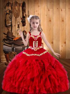 Beauteous Red Lace Up Straps Embroidery and Ruffles Little Girls Pageant Gowns Organza Sleeveless