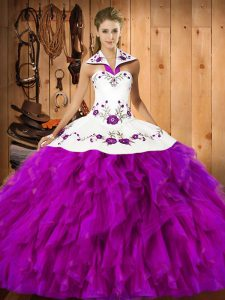 Clearance Embroidery and Ruffles Sweet 16 Dress Fuchsia Lace Up Sleeveless Floor Length