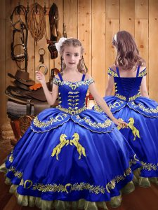 Cute Satin Off The Shoulder Sleeveless Lace Up Beading and Embroidery Child Pageant Dress in Royal Blue
