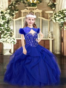 Simple Ball Gowns Little Girls Pageant Gowns Royal Blue Straps Tulle Sleeveless Floor Length Lace Up