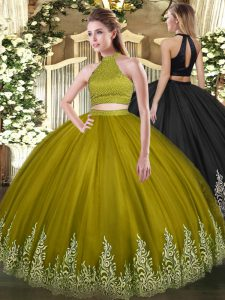 Fancy Olive Green Ball Gowns Beading and Appliques Quinceanera Gown Backless Tulle Sleeveless Floor Length