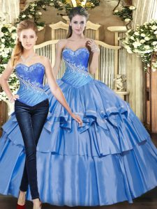Flirting Baby Blue Sleeveless Tulle Lace Up Quinceanera Gowns for Military Ball and Sweet 16 and Quinceanera
