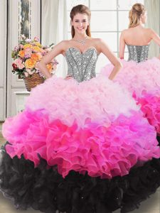 Dynamic Organza Sleeveless Floor Length Sweet 16 Quinceanera Dress and Beading and Ruffles