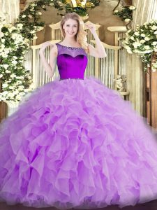 Lavender Scoop Zipper Beading and Ruffles and Hand Made Flower Quince Ball Gowns Sleeveless