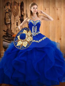 Luxury Organza Sweetheart Sleeveless Lace Up Embroidery and Ruffles 15th Birthday Dress in Blue