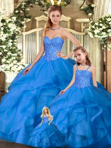Floor Length Blue 15th Birthday Dress Sweetheart Sleeveless Lace Up