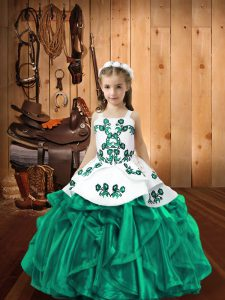 Floor Length Turquoise Kids Pageant Dress Organza Sleeveless Embroidery and Ruffles