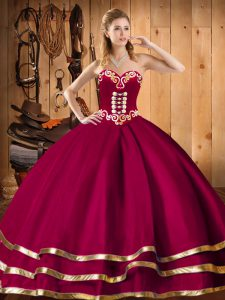 Customized Organza Sweetheart Sleeveless Lace Up Embroidery and Ruffles Sweet 16 Dress in Wine Red