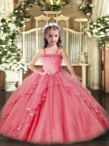 Appliques and Ruffles Little Girls Pageant Dress Watermelon Red Lace Up Sleeveless Floor Length
