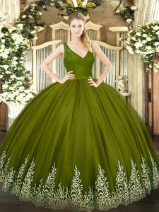 Flare Olive Green Backless Quince Ball Gowns Beading and Lace and Appliques Sleeveless Floor Length