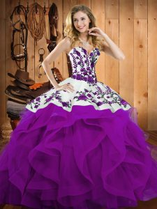 Hot Selling Sleeveless Lace Up Floor Length Embroidery and Ruffles Vestidos de Quinceanera