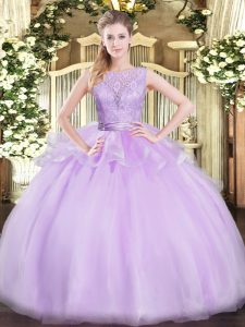 Lace 15 Quinceanera Dress Lavender Backless Sleeveless Floor Length