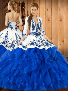 Fitting Ball Gowns 15th Birthday Dress Blue Sweetheart Satin and Organza Sleeveless Floor Length Lace Up