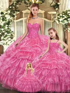 Rose Pink Ball Gowns Beading and Ruffled Layers Quince Ball Gowns Lace Up Organza Sleeveless Floor Length