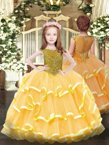 Custom Design Orange Ball Gowns Beading and Ruffled Layers Little Girl Pageant Gowns Zipper Organza Sleeveless Floor Length