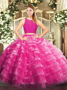Dramatic Ball Gowns 15th Birthday Dress Fuchsia Scoop Organza Sleeveless Floor Length Zipper