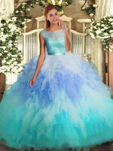 Luxurious Sleeveless Tulle Floor Length Backless Ball Gown Prom Dress in Multi-color with Lace and Ruffles
