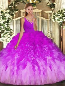 Eye-catching Multi-color Backless V-neck Ruffles 15 Quinceanera Dress Tulle Sleeveless