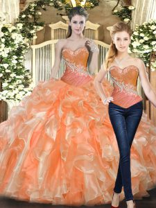 Orange Red Ball Gowns Tulle Sweetheart Sleeveless Beading and Ruffles Floor Length Lace Up Quinceanera Dresses