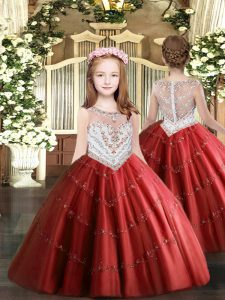Inexpensive Red Scoop Neckline Beading and Appliques Custom Made Pageant Dress Sleeveless Zipper