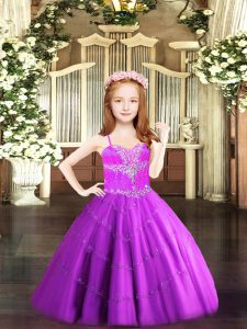 Sleeveless Tulle Floor Length Lace Up Girls Pageant Dresses in Fuchsia with Beading