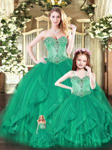 Beauteous Green Ball Gowns Beading and Ruffles Quince Ball Gowns Lace Up Tulle Sleeveless Floor Length