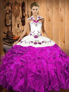 Halter Top Sleeveless 15th Birthday Dress Floor Length Embroidery and Ruffles Fuchsia Satin and Organza