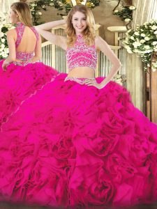 Trendy Two Pieces Quinceanera Dress Hot Pink High-neck Tulle Sleeveless Floor Length Backless