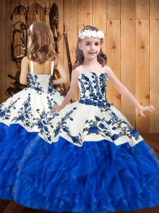 Charming Sleeveless Organza Floor Length Lace Up Pageant Dress Wholesale in Blue And White with Embroidery and Ruffles