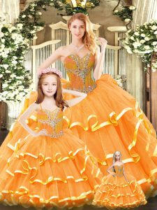 Floor Length Orange Red Sweet 16 Dresses Tulle Sleeveless Beading and Ruffled Layers