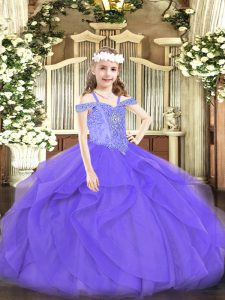 Floor Length Lace Up Little Girls Pageant Dress Wholesale Lavender for Party and Quinceanera with Beading and Ruffles
